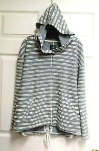 Rip-Curl-Gray-With-White-Stripes-Pullover-Hoodie-Jacket-w-Pockets-Size-M-Medium