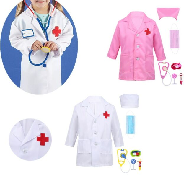Kids Doctor Dressing Up Outfit Lab Coat Girls Boys Fancy Dress Party Costume