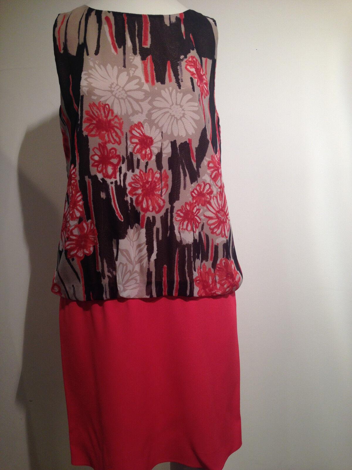 Preowned rot VALENTINO MultiFarbe Floral Print Silk Dress Größe 44     SHK