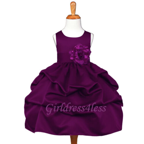 US Seller New Plum Dark Purple Wedding Baby Flower Girl Pageant PIck-Up Dress
