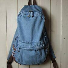 Mens Womens Vintage Denim Satchel Backpack Rucksack Shoulder School Bag