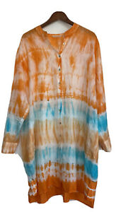 Soft Surroundings 100% SILK Sol Tunic Dress SIZE 2XL Dip Dye WOMEN'S