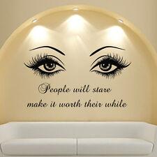 Beautiful Eyes Big Eye Lashes Wink Decor Wall Beauty Art Mural Vinyl Decal MN808
