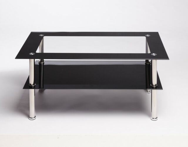 BLACK AND CLEAR RECTANGLE GLASS AND STEEL DESIGNER MODERN COFFEE TABLE