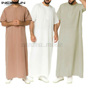 Mens-Muslim-Clothing-Thobe-Saudi-Arab-Short-Sleeve-Islamic-Jubba-Kaftan-Tunic-UK