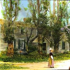 Vtg Magic Lantern Glass Slide Photo Old Home Woman Trees Nova Scotia 1920s