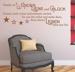 X810-Wandtattoo-Spruch-Glaube-an-Wunder-Liebe-Glueck-Wandsticker-Wandaufkleber