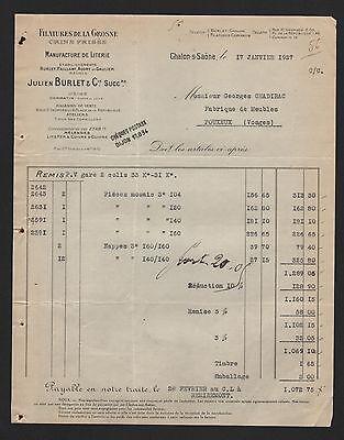 Chalon-sur-saone, Rechnung 1927, Julien Burlet & Cie. Filatures De La Grosne Gut Verkaufen Auf Der Ganzen Welt