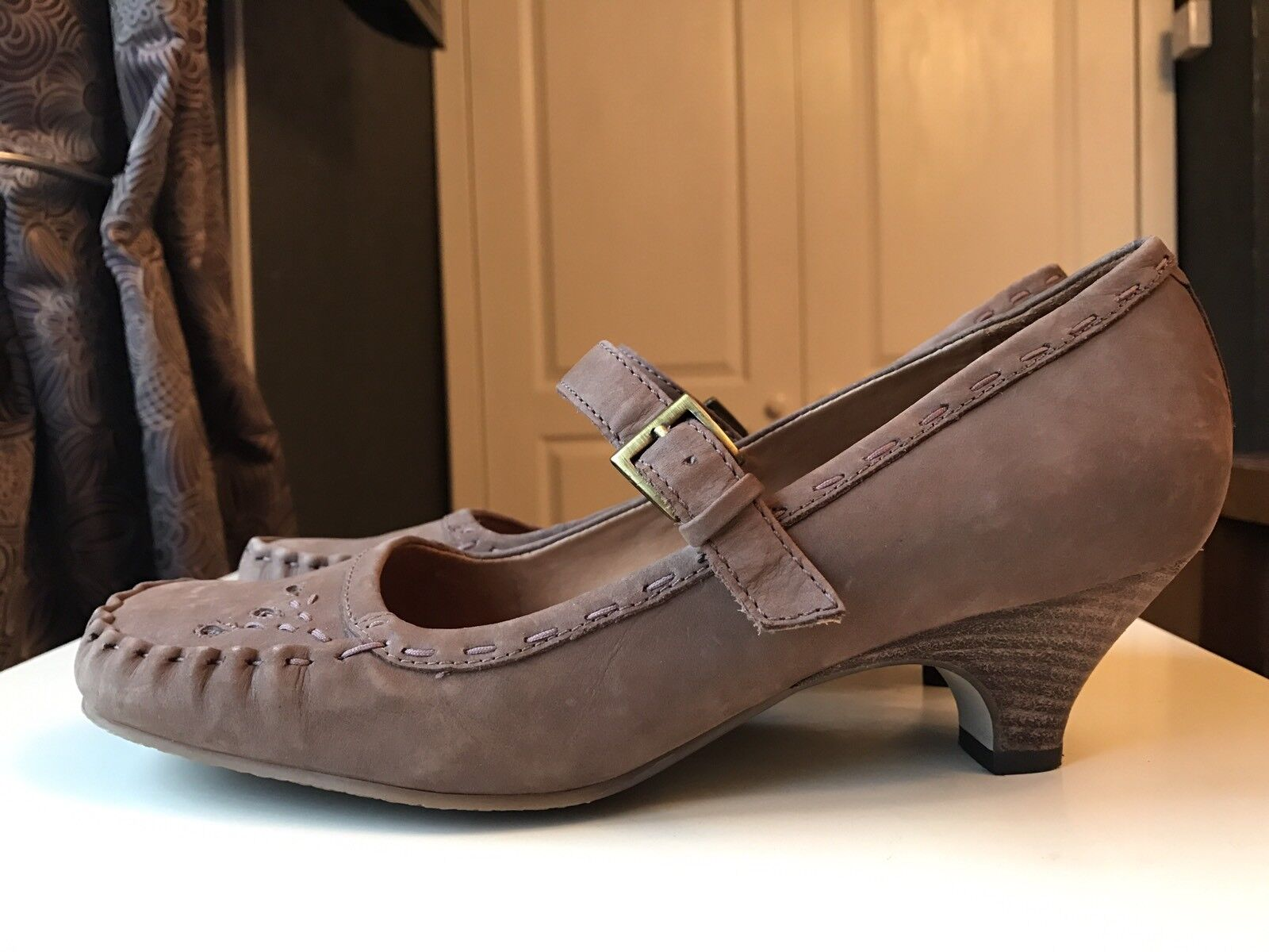 Clarks Leather Women Ladies Shoe Ankle Boot Heel Court Sandal Brogue Size 6 39