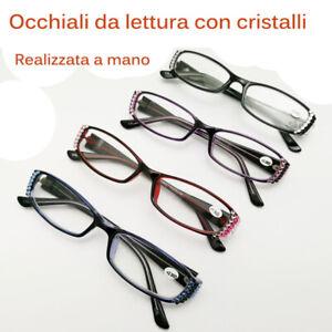 Donna-Vintage-Strass-Lettura-Occhiali-da-Iridescente-Cristalli-a-Mano-elegante