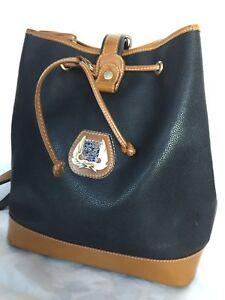 Lancel-Black-Brown-Drawstring-PVC-Leather-Vintage-Bucket-Shoulder-Hand-Bag