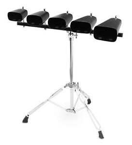 XDrum-Cowbell-Set-inklusive-Staender-5-Kuhglocken-mit-Stativ-harmonischer-Klang