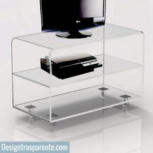 Carrello porta tv trasparente in plexiglass con ruote 70x30 h50cm design moderno ebay - Carrello sposta mobili ...