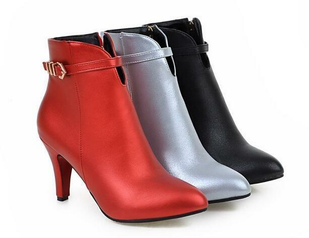 Stiefel stilett damenschuhe 9 rot silber schwarz simil leder 8835  | Das hochwertigste Material