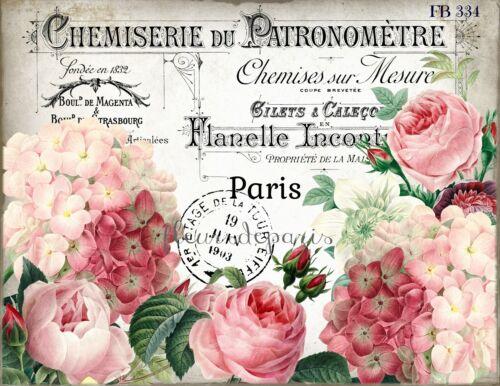 ~ Shabby Chic Vintage Francés Roses /& Hortensias Bloque De Tela acolchar FB 334 ~