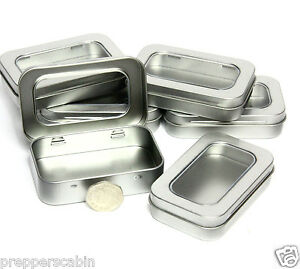 Image Is Loading SMALL SILVER METAL TIN WITH HINGED WINDOW LID