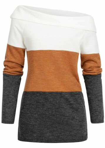28/% OFF B19106717 Damen Violet Pullover One Shoulder Colorblock Sweater weiß