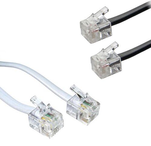 RJ11 to RJ11 Cable ADSL BT Broadband Modem Internet Router UK BLACK WHITE Lead
