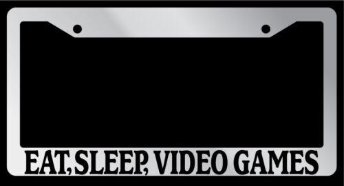 "Video Games/"" Auto Accessory 756 Sleep Chrome License Plate Frame /""Eat"