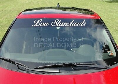 Lowered Status Windshield Decal Sticker Vinyl Import Banner Turbo Slam Car Truck