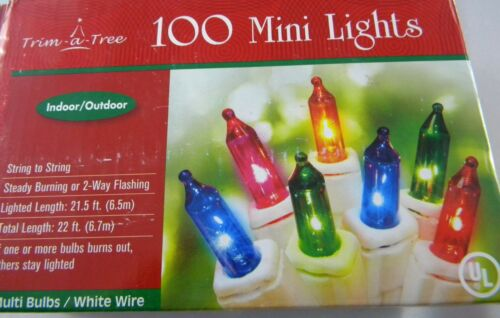 100 MULTI COLOR Mini Lights WHITE WIRE Christmas Steady or  Flashing