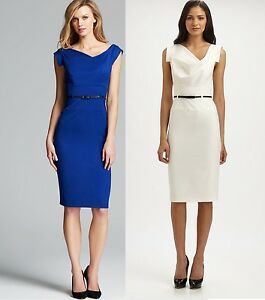 Black Halo Classic 3//4 Sleeve Jackie O Belted Blue Women Cocktail Party Dress