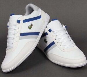 lacoste mens giron trainers white royal blue smooth