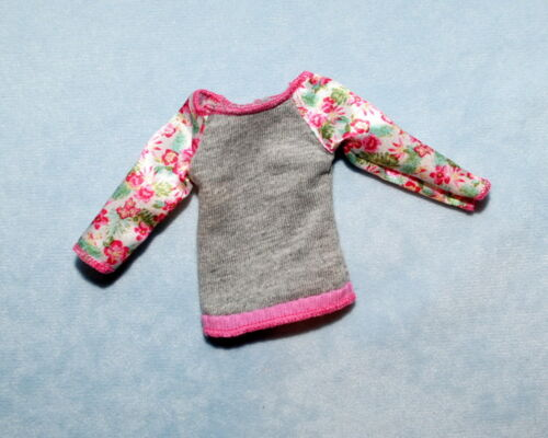 Gray Top Shirt w// Cream Pink Green Floral 3//4 Sleeves Genuine BARBIE Fashion