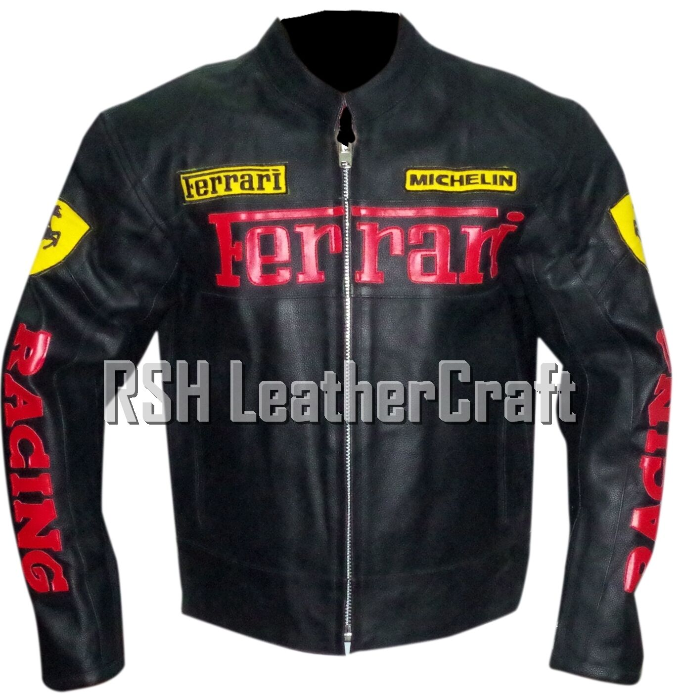 Ferrari Biker Motorcycle Racer Genuine Cowhide Leather Rider Jacket With Armour For Sale Online Ebay