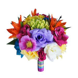 Details About Rainbow Wedding Theme One 9 Bouquet Colorful Silk Flower Arrangement