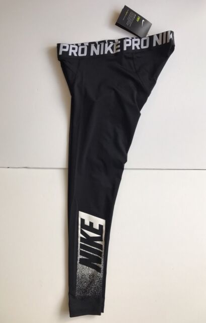 NEW Nike Pro Training Exploded Logo Compression Tights Size Medium Black / White