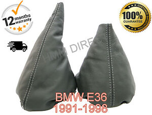 BMW-E36-1991-1998-GENUINE-GREY-LEATHER-GEAR-amp-HANDBRAKE-GAITER-COVER-GREY-STITCH