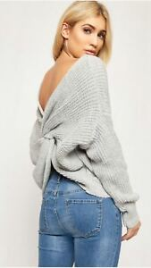 Details zu V Neck Knitted Knot Twist Wrap Front Cross Back Long Sleeve Jumper Sweater Top