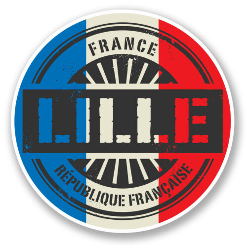 2 x 10cm Lille France Vinyl Sticker Decal Travel Luggage Flag Tag French #6025