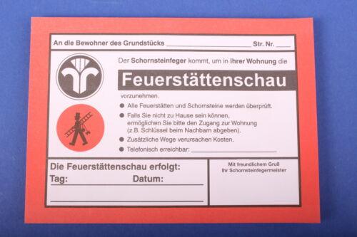 Anmeldezettel Feuerstättenschau Kaminkehrer Schornsteinfeger Kaminfeger