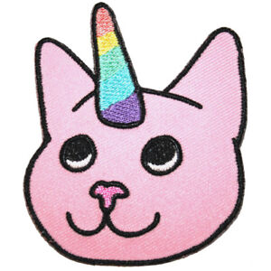 Pink-Cat-Unicorn-Iron-On-Patch-Embroidered-Sew-On-Rainbow