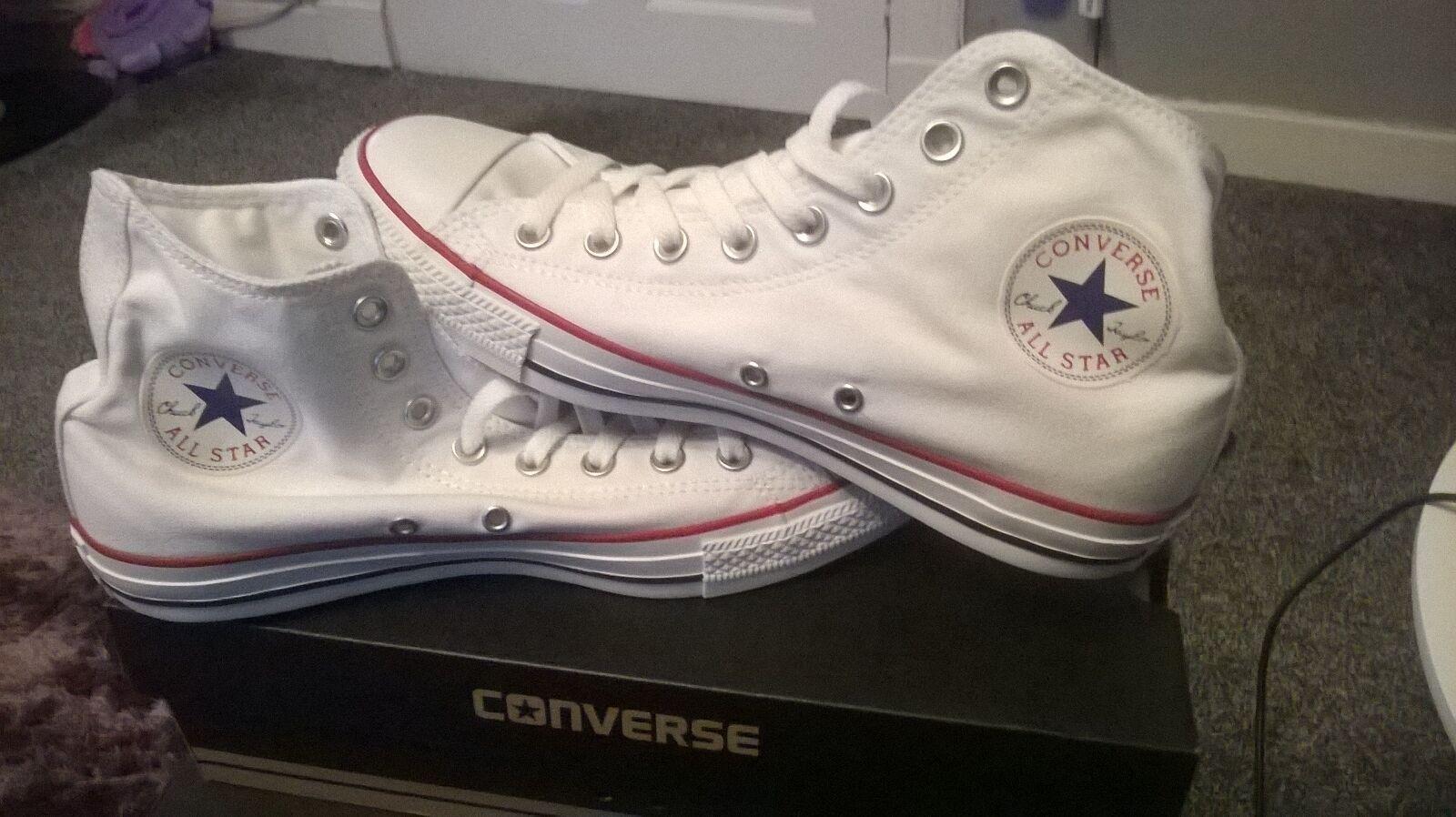 CONVERSE ALL STAR WHITE HI TOP TRAINERS BNIB UK 8 EU 41.5