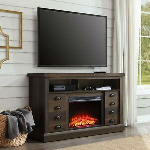 "Electric Fireplace Media Console 65"" TV Stand Heater Storage Cabinet Furniture 