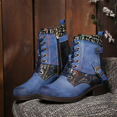 SOCOFY Women Embossed Leather Zipper Lace Up High Heel Metal Buckle Ankle