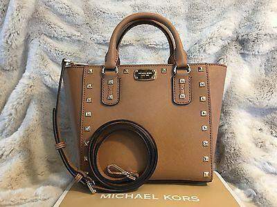 NWT MICHAEL KORS SAFFIANO LEATHER SANDRINE STUD SMALL CROSSBODY BAG - ACORN
