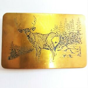 VINTAGE-1970s-034-DEER-IN-FOREST-034-SOLID-BRASS-BELT-BUCKLE-AMPERSAND-KALAMAZOO