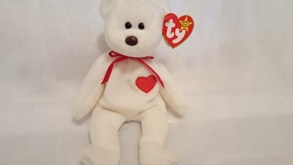 TY VALENTINO the BEAR BEANIE BABY WITH BROWN NOSE - MINT with MINT TAGS