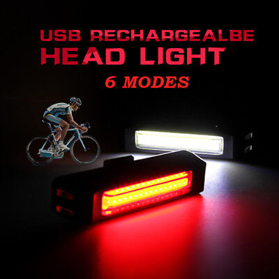 USB Rechargeable 28pcs COB LED Bike Bicycle Cycling Front Rear Tail Light Lamp