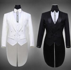 Mens-Stage-Suit-Swallowtail-Tailcoat-Show-Suits-Pants-White-Black-Magic-Costume