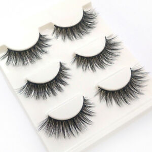 3-Pairs-100-Real-Mink-3D-Volume-Thick-Cross-Daily-False-Eyelashes-Strip-Lashes