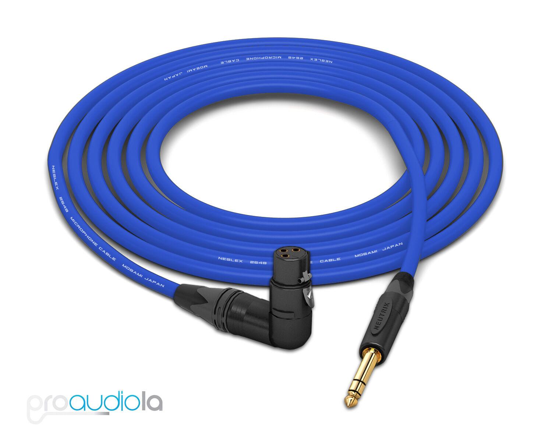 Mogami 2549 Cable   Neutrik guld TRS to 90º XLR-Female   blå 25 Feet 25 ft.