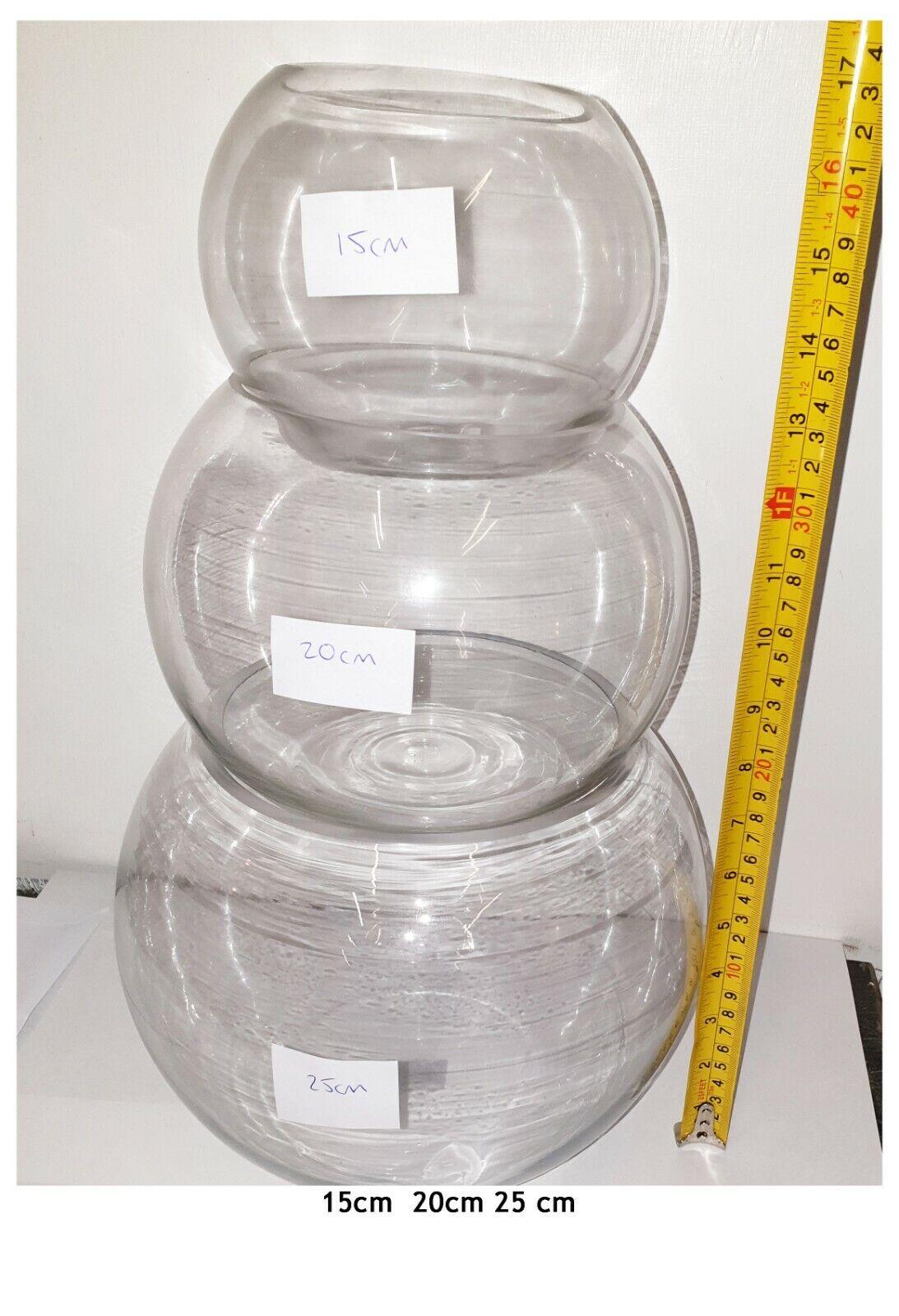 2 juegos de 3 tazones de fuente de pescado de vidrio para grandes Navidad Muñeco De Nieve De Adorno Con Nieve XL