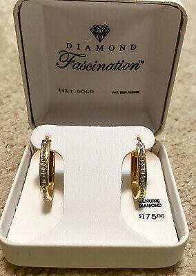 Nib Diamond Fascination 14k Gold Hinged Hoop Earrings 761789025447 Ebay