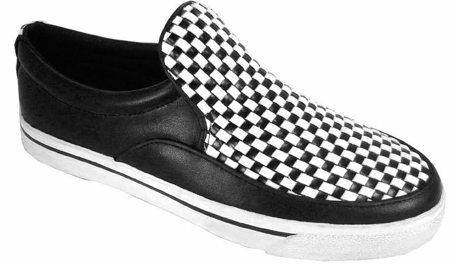 T. u.K A6253ltuk Leather Black White Black White Checkerboard Slip-On