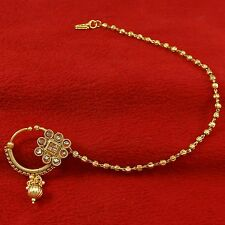 Wedding Bridal Gold Plated Ethnic Nose Chain Ring Bollywood Nath hoop Jewelry